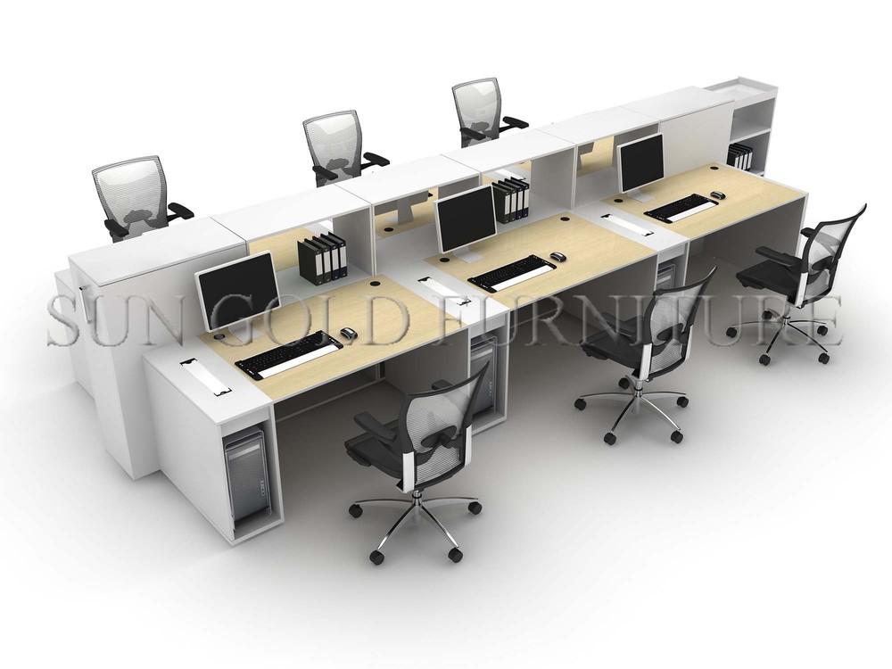 Moderne en bois pas cher 6 places bureau poste de travail - Bureau de travail pas cher ...