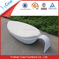 Outdoor rattan furniture chaise lounge waterproof sunbed with cushion