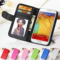 For Samsung Galaxy Note 3 Leather Case Wallet Stand Flip Cover With Photo Frame Card Slots