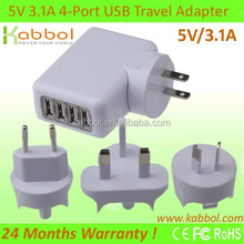 15W 5V 3.1A 4-Port USB Wall Travel Charger for iPhone 6, 6Plus, 5, 5S, Samsung Galaxy S6/S6 edge/Note4/Edge, Nexus
