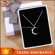 2016 fashion compact lady's latest jewelry with moon shape 925 sterling silver pendant for women