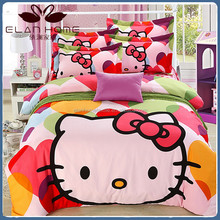100%cotton hello kitty kids bedding set/bed sheet wholesale