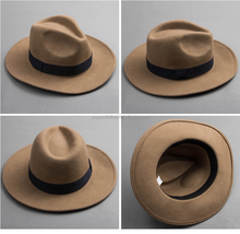 cheap unisexed fashion wool felt fedora hats , wholesale wide brim fedora hat