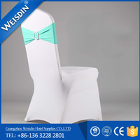 Top quality shirred lycra spandex chair cover with diamond buckle wholesale wedding chair cover with plume sash