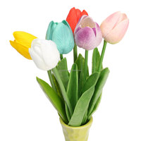 1 pieces Wedding Tulip Flower Artificial PU Mini Simulation Tulip Flowers Party Home Garden Decoration Flower 6 Color