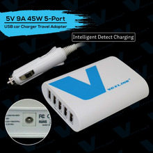 Voxlink 5-Port USB Car Charger 45W 5V 9A With Intelligent Technology For Cellphone iPhone i Pad Tablet