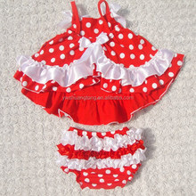 wholesale red and white spot swing top set baby bloomer body suits 100%cotton outfit