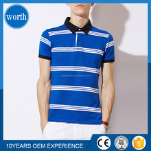 2016 white and blue striped polo for mens tee shirt