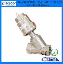 Alta presión de 2 vías de acero inoxidable válvula de ángulo neumática media pulgada KLJZF-15