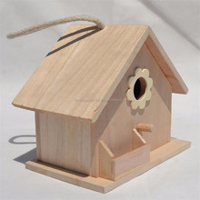 Creative type small wooden bird's nest Children's toys decorative wooden house nest with tank standing bird houses