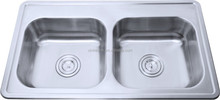 OEM New 50/50 Double Bowl Kitchen Sinks, 304 Stainless Steel, Ulter big deep bowl sink, Topmount/countertop/inset/set-on(D73)