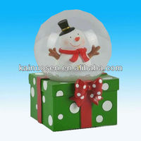 Snowman christmas resin snow globe with square base