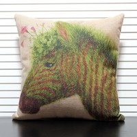 Creative Zebra Figure Christmas Gift Square Pillow Cover Home Sofa Decorative Cushion For Leaning On
