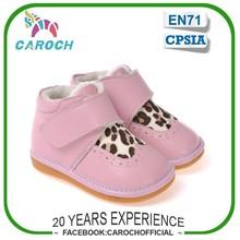 Parches de leopardo de diseño cuero genuino moda CAROCH marca cálido invierno niños nieve botas C-2319