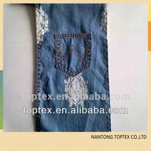 100% impreso de algodón denim índigo tela para pantalones vaqueros