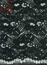 Latest High Quality Black Floral Scalloped Knitted Tricot Fabric Cord Lace