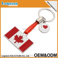 2015 popular items custom design canada Flag rectangular keychain swedish