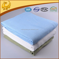 Natural Comfort White And Blue Pure Color Plain Style, Light Weight Queen Size Wholesale Embossed Blanket
