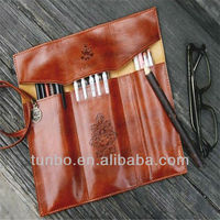 old fashion leather pencil pouch waterproof pencil case