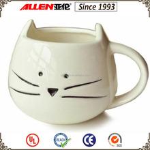 "4.3"" white ceramic cat mug wholesale, animal head coffee mug"