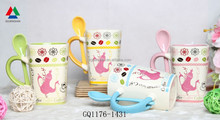New arrival cuty color decal mug ceramic mug with color spoon in handle