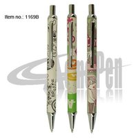 PU leather Pen Click Action Fashion Ballpoint Pen Printing custom design for Personalised Writing Ball Pen Parker style refill