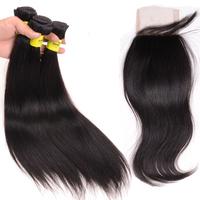 Peruvian Straight Human Hair Bundles with Lace Closure 4Pcs Lot 7A Peruvian Virgin Hair Weft with Closure DHL Free Shipping