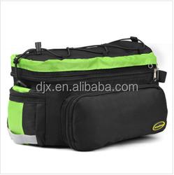 Trunk Bag Black - w/ Rear Light Clip Attachment & Reflective Trim - Bicycle Trunk Bag Cycling Rack Pack Bike Rear Bag