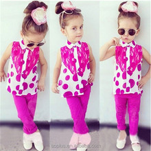 SFK150701 European Style 2015 Hot Sale Summer Girls Wholesale Children Clothing Sets Lovely Chiffon Top With Lace And Pink Pants