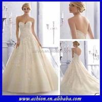 WE-2870 Strapless beaded sweetheart wedding dress pattern a-line with tulle overlay skirt wedding dress imported from china