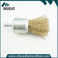 Shank Brass Copper Crimped Wire Cup Brush for stone metal deburring