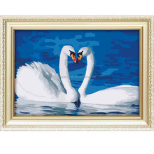 Hot sale paint by number kits oil painting with two swans pattern 40*50cm
