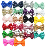 Wholesale high quality fashion elegant sequin green hair bows for baby / kids /adult Christmas