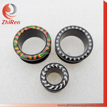 ZhiRen 2015 wholesale black acrylic circled logo ear plugs and stretchers