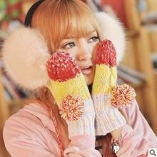 wholesale women Winter Snow Mitten glove thicking Knitted Warm Gloves Cheap Wholesale T-213