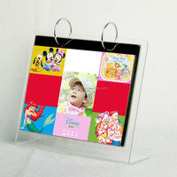 clear acrylic desktop calendar stand with paper page plexiglass table calendar with metal rings