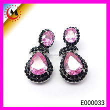 2015 POPULAR TRENDY DOUBLE SIDED EARRING RUBY WITH BLACK PAINTING