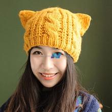 Coreano moda mulheres lady horns Ear Crochet Knit trançado Ski Beanie Hat boné de lã inverno quente boina