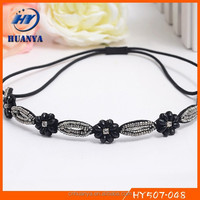 New designs fancy craft embroidered beaded crystal stone hair band korea style