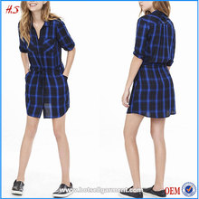 Black And Blue Shirt New Dress Hot Products New Model Casual Dresses China Wholesale Market With Notch Neckline Point Collar