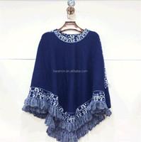 High quality women knit cashmere poncho decorative cloak