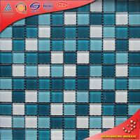 H2019 Blue white crystal Glass mosaic tv wall stickers tile