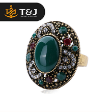 2015 Vintage Women 18K Gold Tibetan Silver Alloy Oval Turquoise Ring Ruby Jewelry