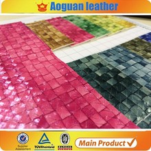 Shiling factory pvc calender leather for shoe and handbag with woven design T7288