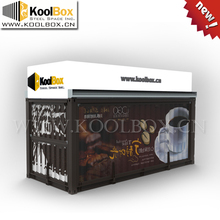 KoolBox 2015 the latest 20FT cafe container design, hydraulic system mobile shipping container cafe