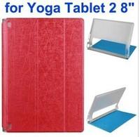 Cantaloupe Texture 3-Folding Flip Transparent PC Hard Back Cover + PU Leather Case for Lenovo Yoga Tablet 2 8 inch