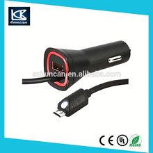 1 to 2 Car cigar adaptor with 60cm extend cable 9v 2a car charger