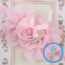 Kids party elastic lace hair headband/accessories with flower wholesale
