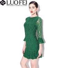 High quality three quarter ruffles sleeveless lace vintage style dresses for lady