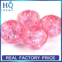 Loose Pink Faceted Round Cubic Zirconia Micro Pave cz Beads